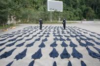 广西查获一批野生动物制品 183张鳄鱼皮铺满操场