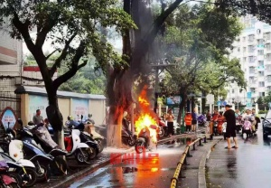 场面骇人!柳州一车主刚从维修店出来电车秒变火球