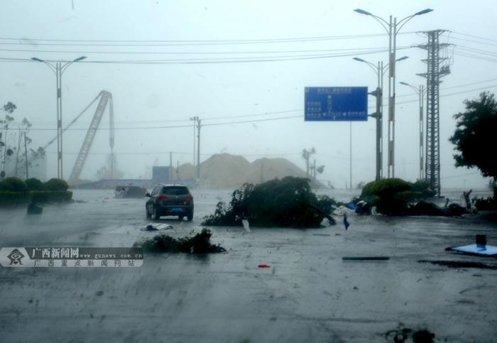 """高清:""""威马逊""""突袭钦州港 各方齐心抗台风"""