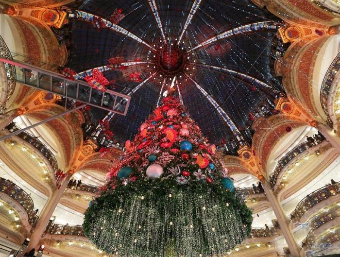 """巴黎:""""老佛爺""""的圣誕樹"""