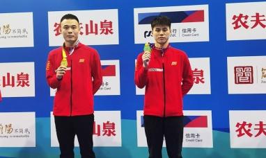 全國跳水青錦賽廣西組合男子雙人三米板奪金