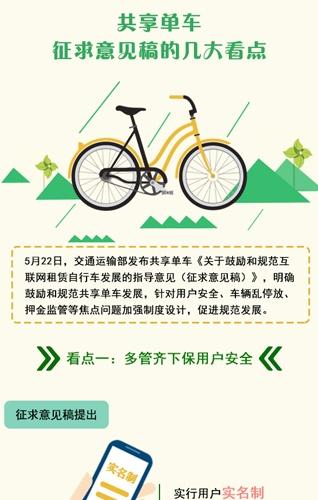 【知道·图解】共享单车征求意见稿的几大看点