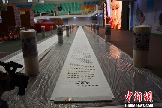 74岁老人书写《红楼梦》行楷书法长卷 创世界纪录