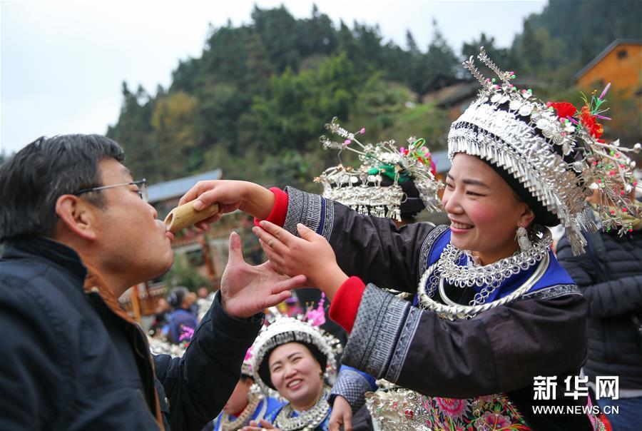 贵州剑河观么镇苗族同胞欢度苗年