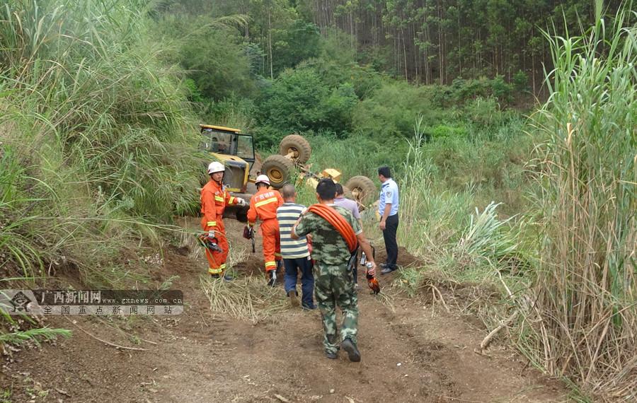 路面湿滑铲车侧翻水塘边 消防救出被困司机(组图)