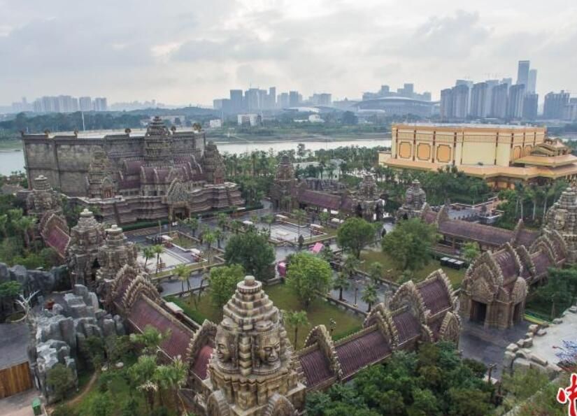 航拍南宁东盟文化博览园