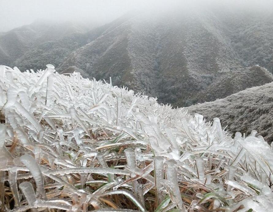 高清组图:强冷空气带来速冻 广西环江现北国风光