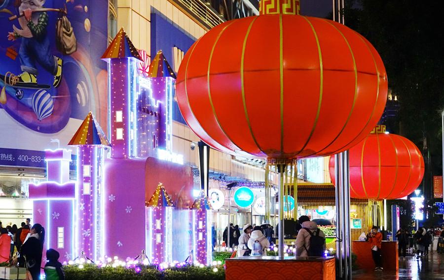 1月1日焦点图:辞旧迎新 南宁新街老巷喜气迎元旦