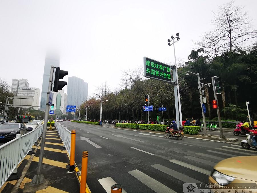 """威尼斯人网站街头紫荆花初放 为""""壮族三月三""""增添亮色"""