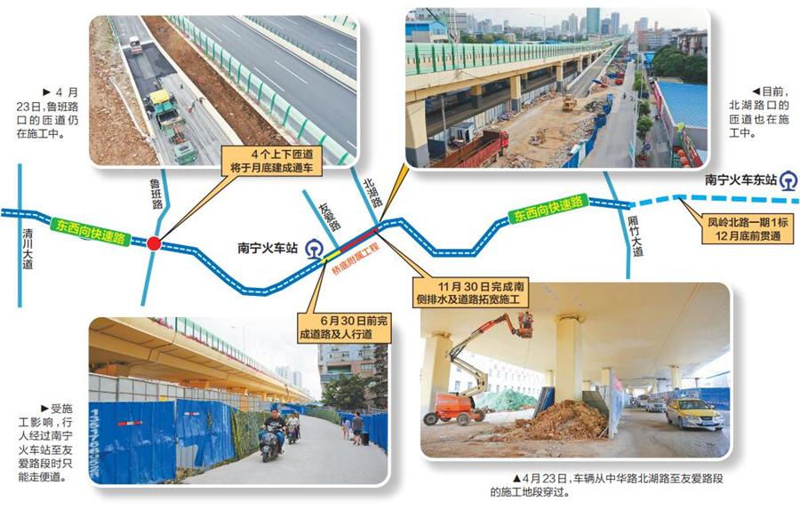 24日焦点:南宁东西快速路主线匝道8月底全部通车