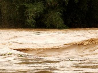 蒙山遭大暴雨突袭多处受灾 多处河流水位猛涨(图)