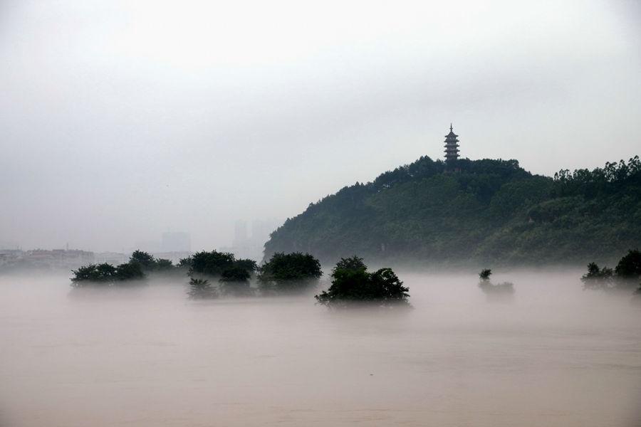 高清組圖:全州暴雨過后 湘江現平流霧景觀