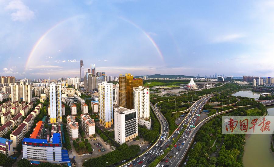 6月13日焦点图:南宁现雨后彩虹