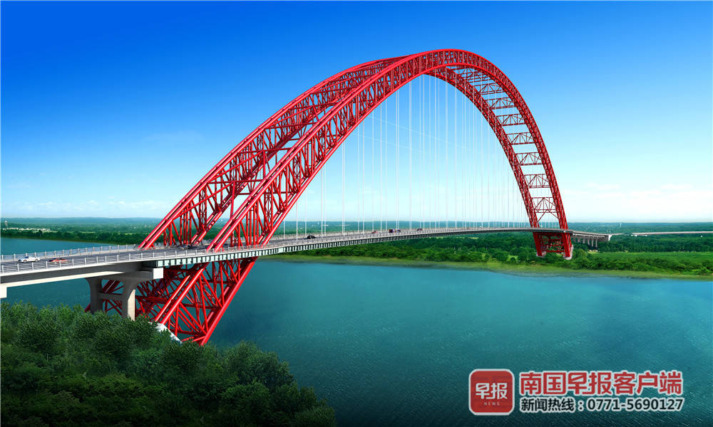 下浑组图:广西将建成一座跨度天下第一的钢管拱桥