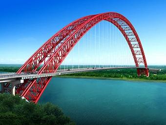 高清组图:广西将建成一座跨度世界第一的钢管拱桥
