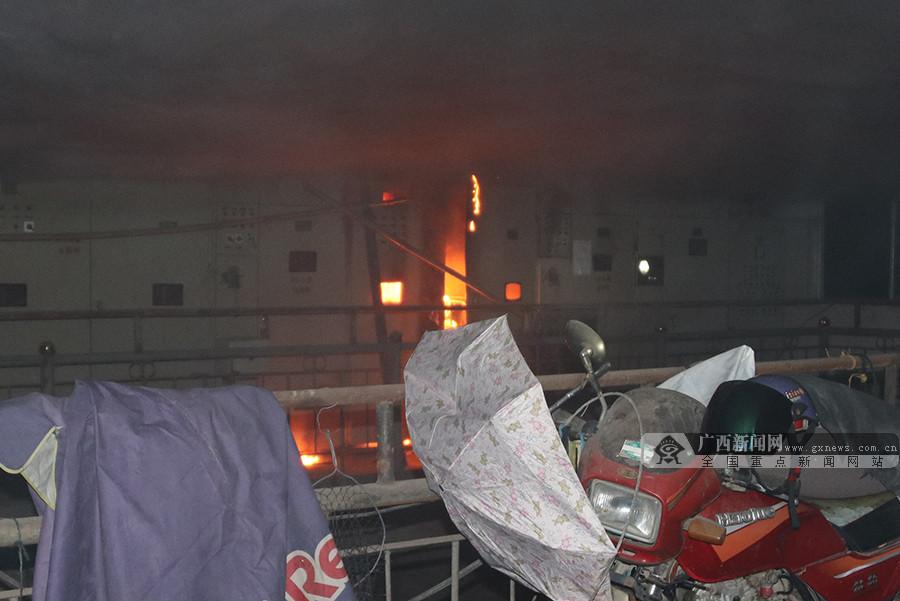 百色一电厂水泵房发生火灾 线路电缆猛烈燃烧(图)