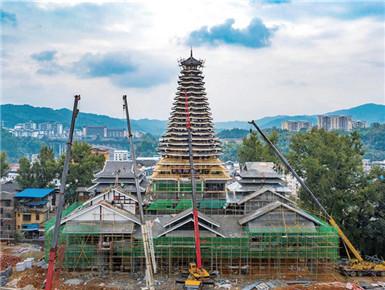 10月27日焦點圖:21層!廣西侗鄉第一高鼓樓現雛形