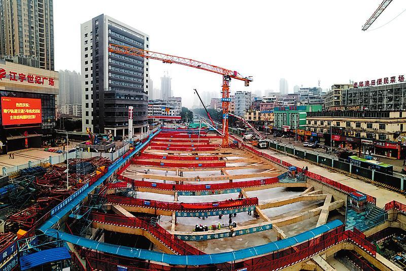好消息!南宁地铁5号线虎邱站主体结构封顶(图)