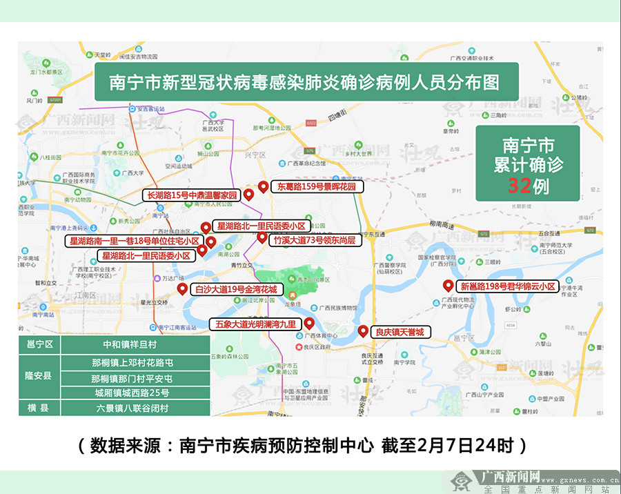 南宁市新型冠状病毒感染肺炎确诊病例人员分布图