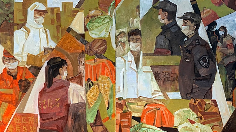 油画《社区抗疫情》