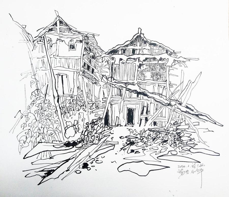 钢笔画《病毒拦在在门外》