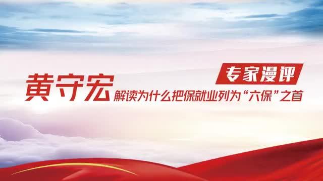 """【专家漫评】黄守宏解读为什么把保就业列为""""六保""""之首"""