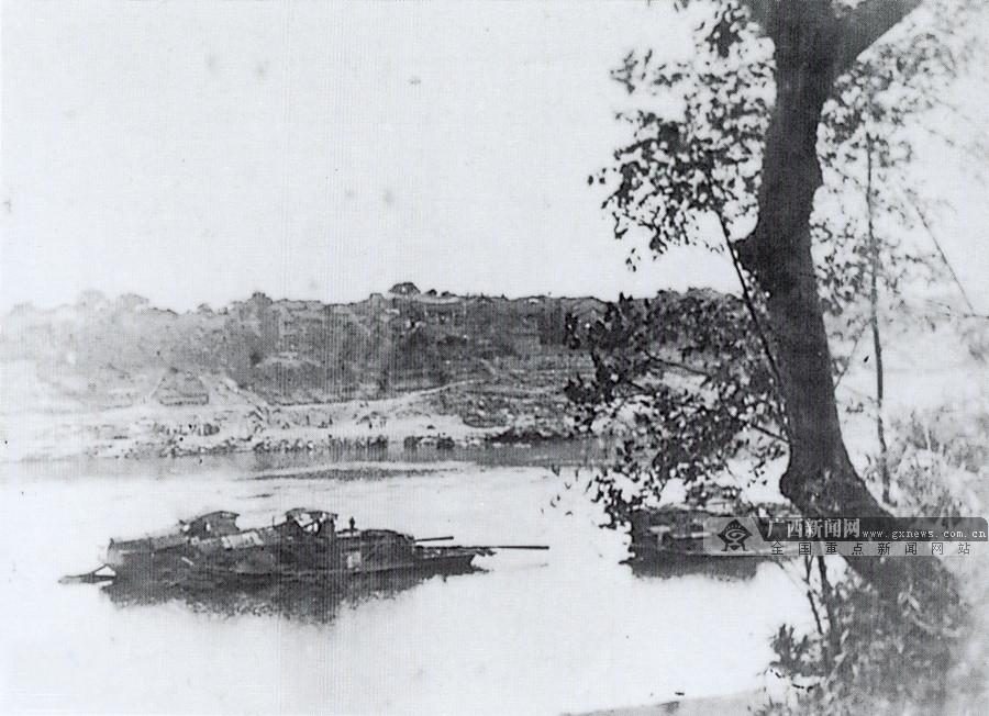 1944年12月,中共贵县、横县县委领导的抗日游击队在大江乡江头村截击日军船队,此次战斗击毙日军80多人。图为大江乡江头村战斗旧址。(广西壮族自治区档案馆供图)
