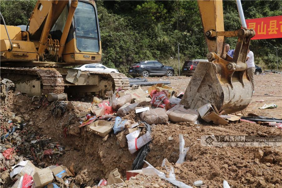 灵山县市场监管局公开销毁8吨问题食品(组图)