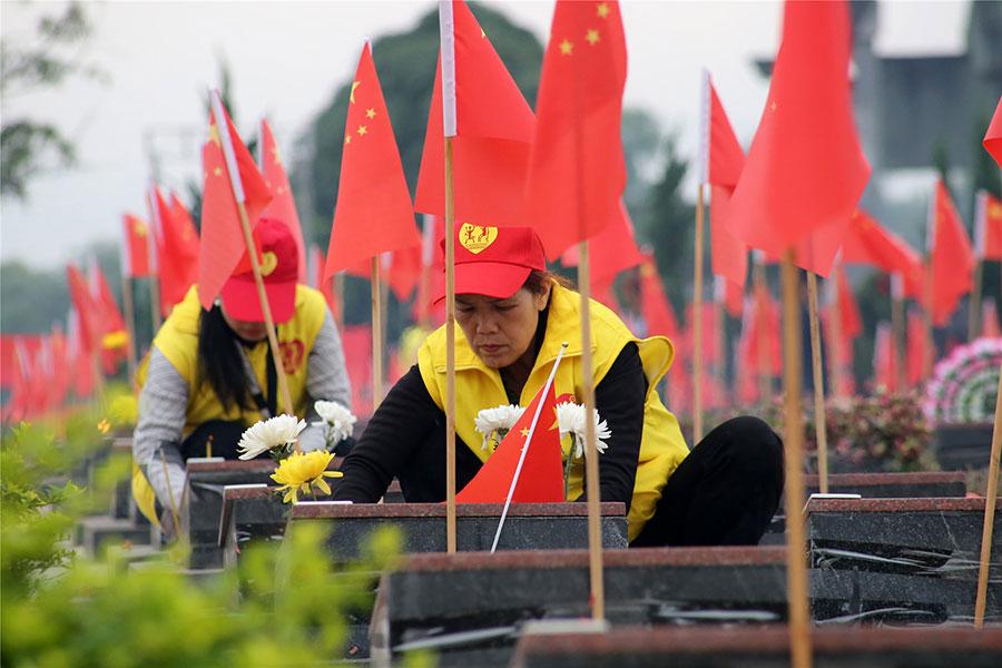 龙州县爱心公益协会清明平安祭扫英烈志愿服务项目