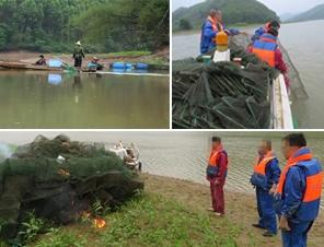 禁渔期贺州八步区贺江有人捕鱼