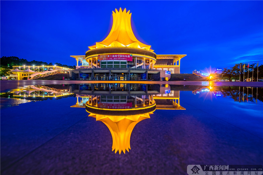 高清组图:南宁国际会展中心夜色璀璨魅力十足