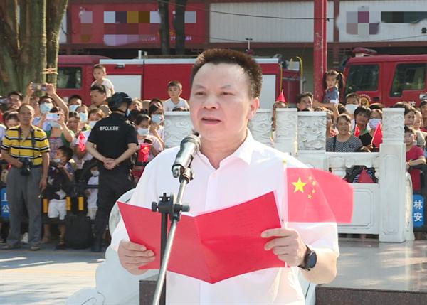 上林县:升国旗唱国歌 齐庆中华人民共和国成立72周年